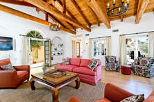 Living Room, with French Doors Open to Courtyard