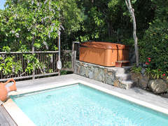 Jacuzzi tucked in tropical landscaping