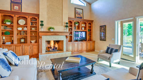 Living room with fire place and also a T.v