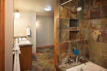 Timberline Vista - Guest Bathroom, downstairswww.enjoymontana.com
