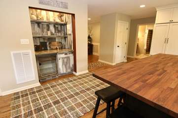Separate wet bar with wine cooler